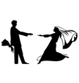 Bride and groom silhouettes for wedding design vector
