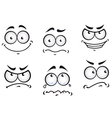 Cartoon comics faces set vector