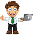 Business man thumbs up with laptop vector