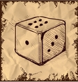 Lucky dice isolated on vintage background vector