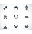 Black dog icons set vector