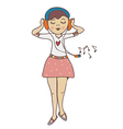 Girl listening to music funny cartoon vector