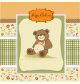 Birthday card with a teddy bear vector