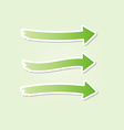 Three different green arrows vector