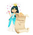 Sweetheart brunette princess with banner vector