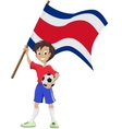 Happy soccer fan holds costa rica flag vector