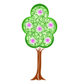 Spring green tree with blossom flowers vector