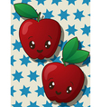 Kawaii apple icons vector