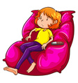 A sketch of a lazy girl at the couch vector