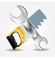 Saw and wrench icon vector
