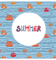 Summer card with sea and ships - funny holidays vector