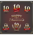 Ten years anniversary signs collection vector