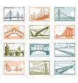 Postage stamps bridges vector