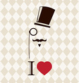 Vintage card with top hat monocle and mustache vector
