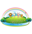 An island with animals fishing vector