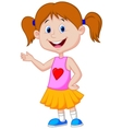 Cute girl cartoon presenting vector