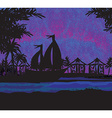 Tropical landscape at night vector