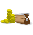 Stack of coins with purse vector