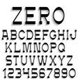 Black alphabet letters and numbers with shadow vector