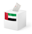 Ballot box with voting paper united arab emirates vector