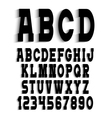 Black alphabet letters with shadow and numbers vector