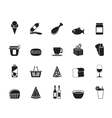 Silhouette shop and foods icons vector
