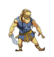 Cartoon warrior with a sword in viking clothes vector