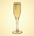 Sketch champagne glass in vintage style vector