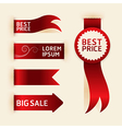 Red ribbon promotion products design vector