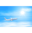 Airplane in the sky with sun vector