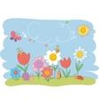 Hello spring cute greeting card vector