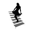 Girl posing on the stairs black silhouette vector