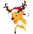 Cute deer cartoon with bulb and red hat vector
