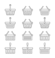 Set of twelve shopping baskets icons vector