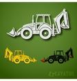 Excavator set vector