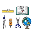Happy cartoon school supplies vector