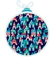 Christmas ball with winter town at night vector
