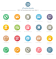Set of round long shadow seo and development icons vector