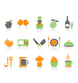 Simple color kitchen icons set vector