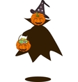 A happy halloween pumpkin with candy basket vector