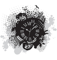 Vintage wallpaper background with clock vector