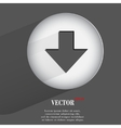 Down arrow flat modern web button with long shadow vector