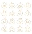Halloween decorating jack-o-lantern silhouette set vector