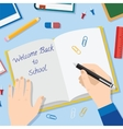 Back to school flat style background with opened vector