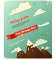 Retro poster design with clouds vector