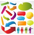 Color arrows speech bubbles and people icons vector