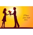 Sunset silhouettes of man and woman vector