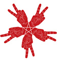 Five victory hands abstract symbol with pentagonal vector