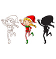 Sketches of an elf in three colors vector