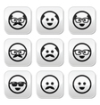 Bald man with mustache and in glasses faces button vector